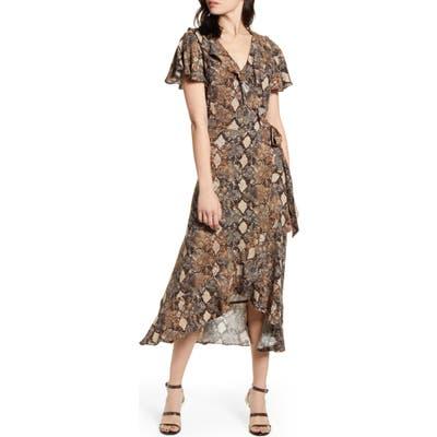 Chelsea28 Ruffle Wrap Dress, Brown