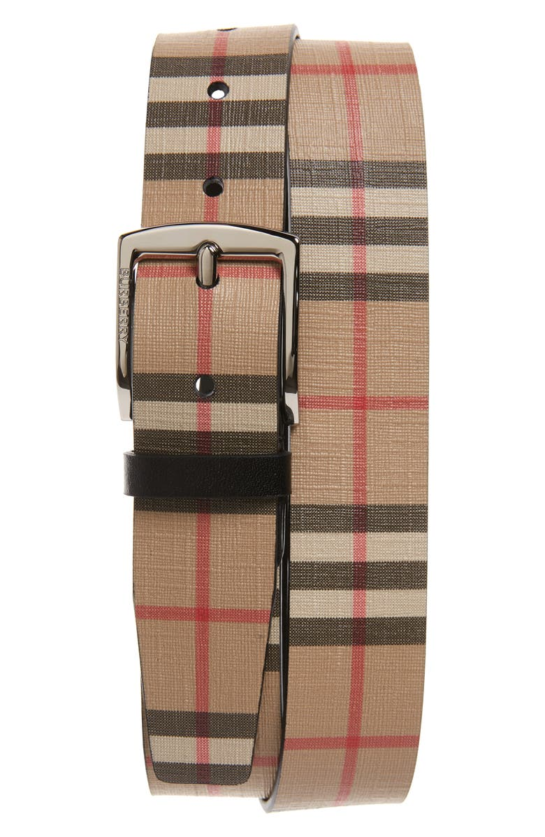 BURBERRY Check Belt, Main, color, 250