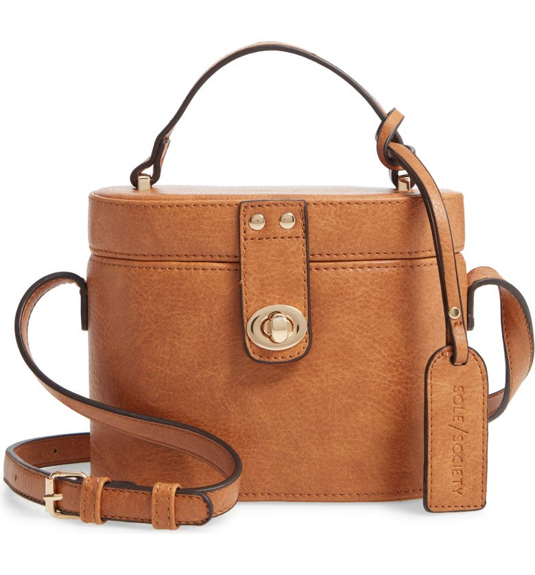 SOLE SOCIETY Georgia Faux Leather Crossbody Bucket Bag, Main, color, CAMEL