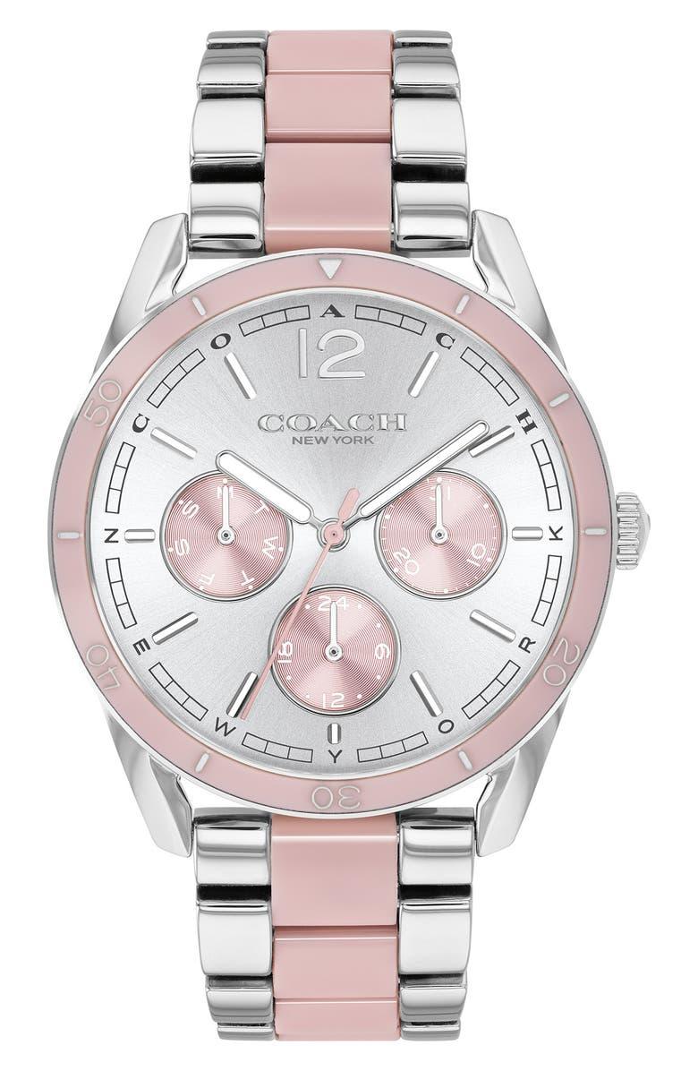 COACH Preston Bracelet Watch, 36mm, Main, color, SILVER/ WHITE/ ROSE GOLD