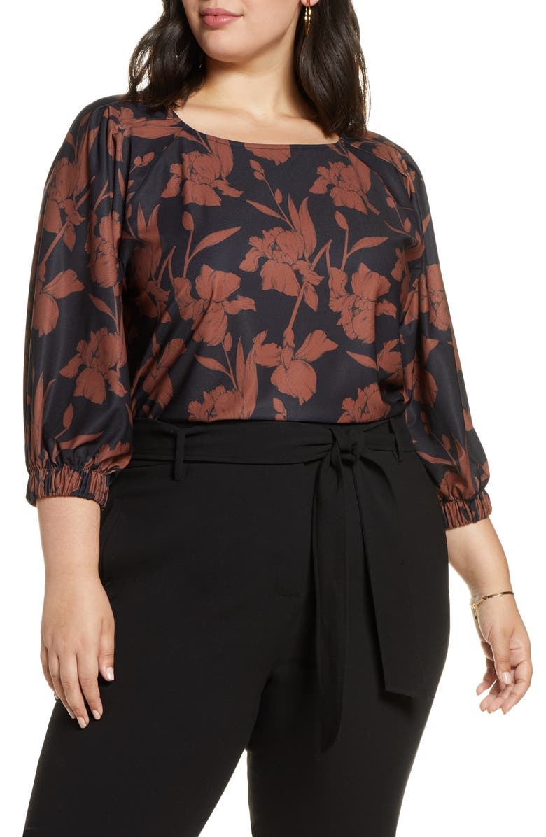 HALOGEN<SUP>®</SUP> Knit Top, Main, color, BLACK- RUST FLORAL