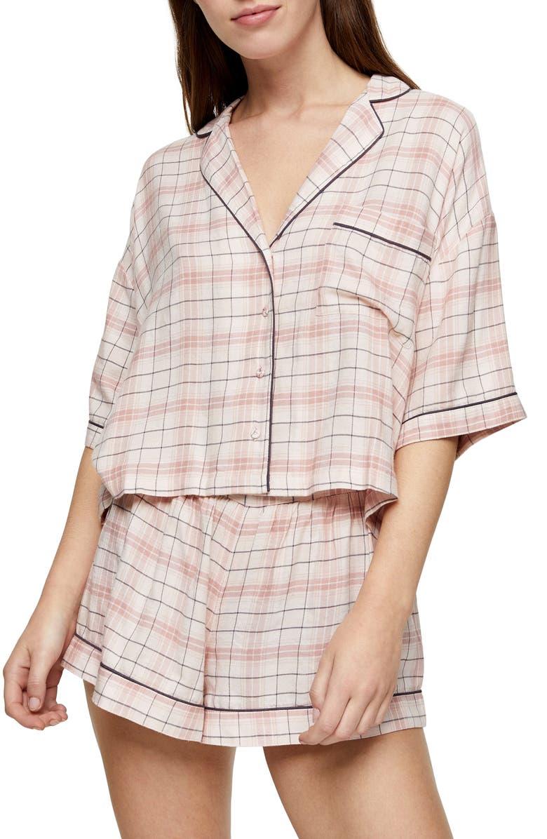 TOPSHOP Check Short Pajamas, Main, color, 650