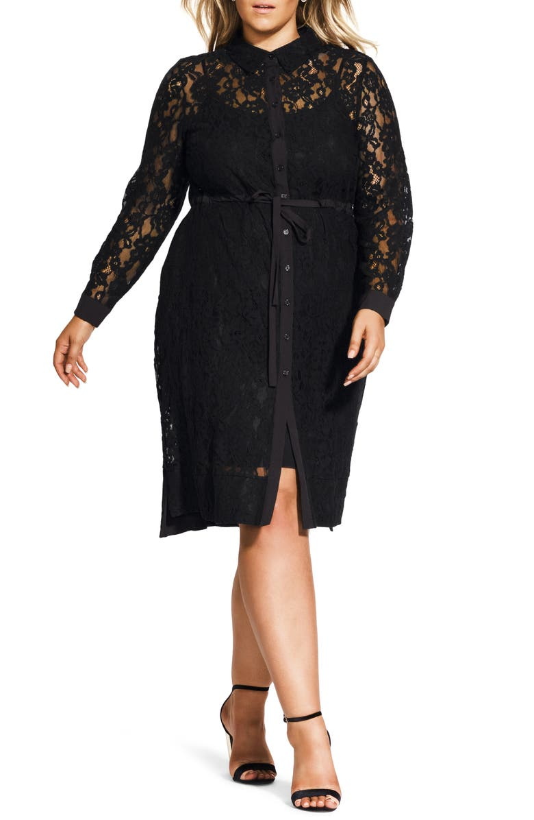 CITY CHIC Noble Lace Long Sleeve Shirtdress, Main, color, BLACK