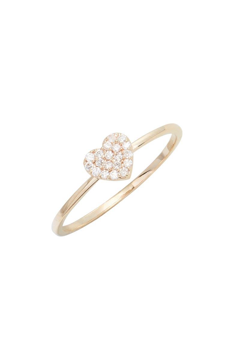 ANZIE Love Letter Pavé Heart Ring, Main, color, GOLD/ DIA