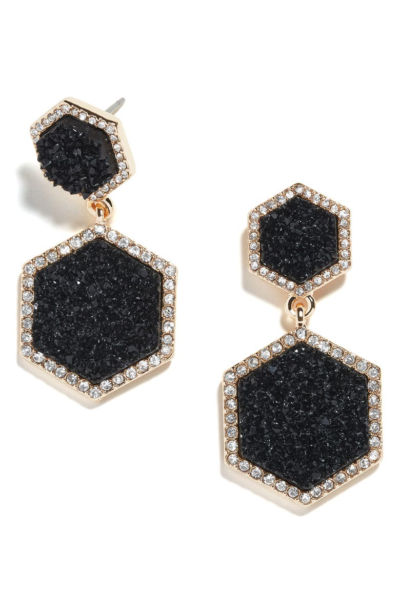 BAUBLEBAR Ashaya Hexagon Drusy Drop Earrings, Main, color, BLACK