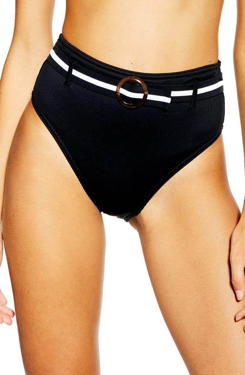 TOPSHOP Belted Bikini Bottoms, Main, color, 001