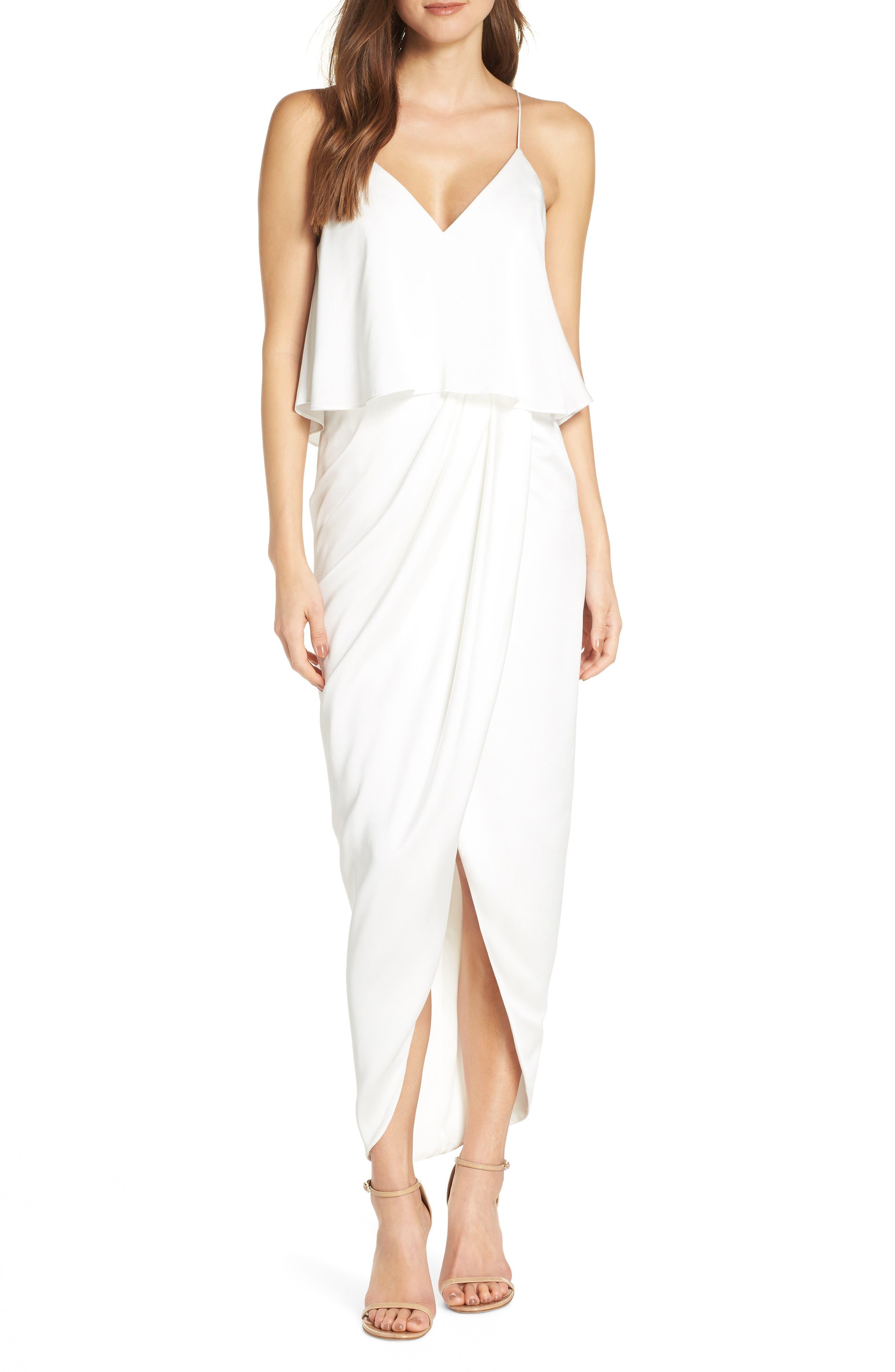 Shona Joy Luxe Frill Tulip Hem Maxi Dress, Ivory