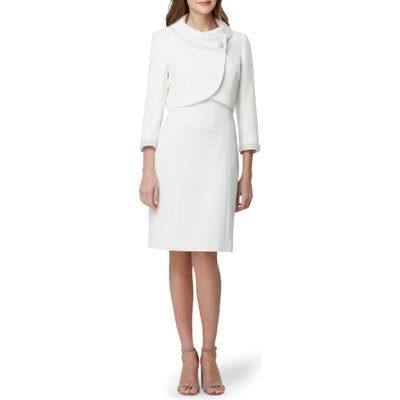 Tahari Imitation Pearl Jacket & Sheath Dress, Ivory