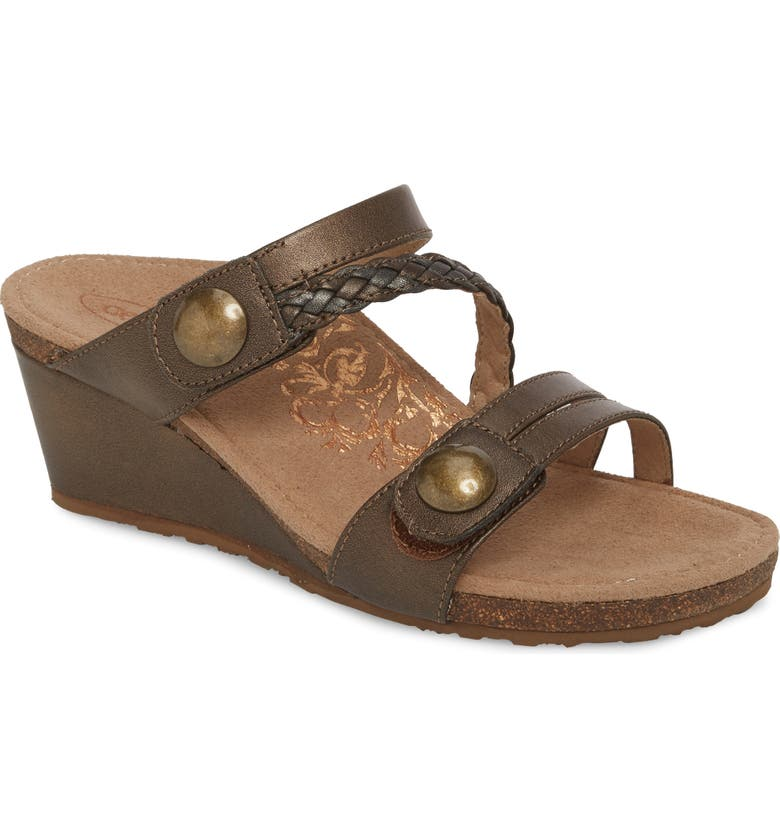 AETREX Lydia Strappy Wedge Sandal, Main, color, BRONZE LEATHER