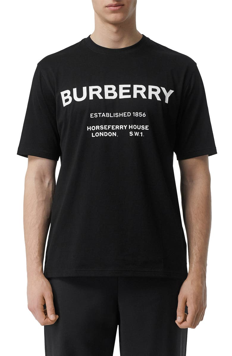 BURBERRY Murs Horseferry Address T-Shirt, Main, color, BLACK