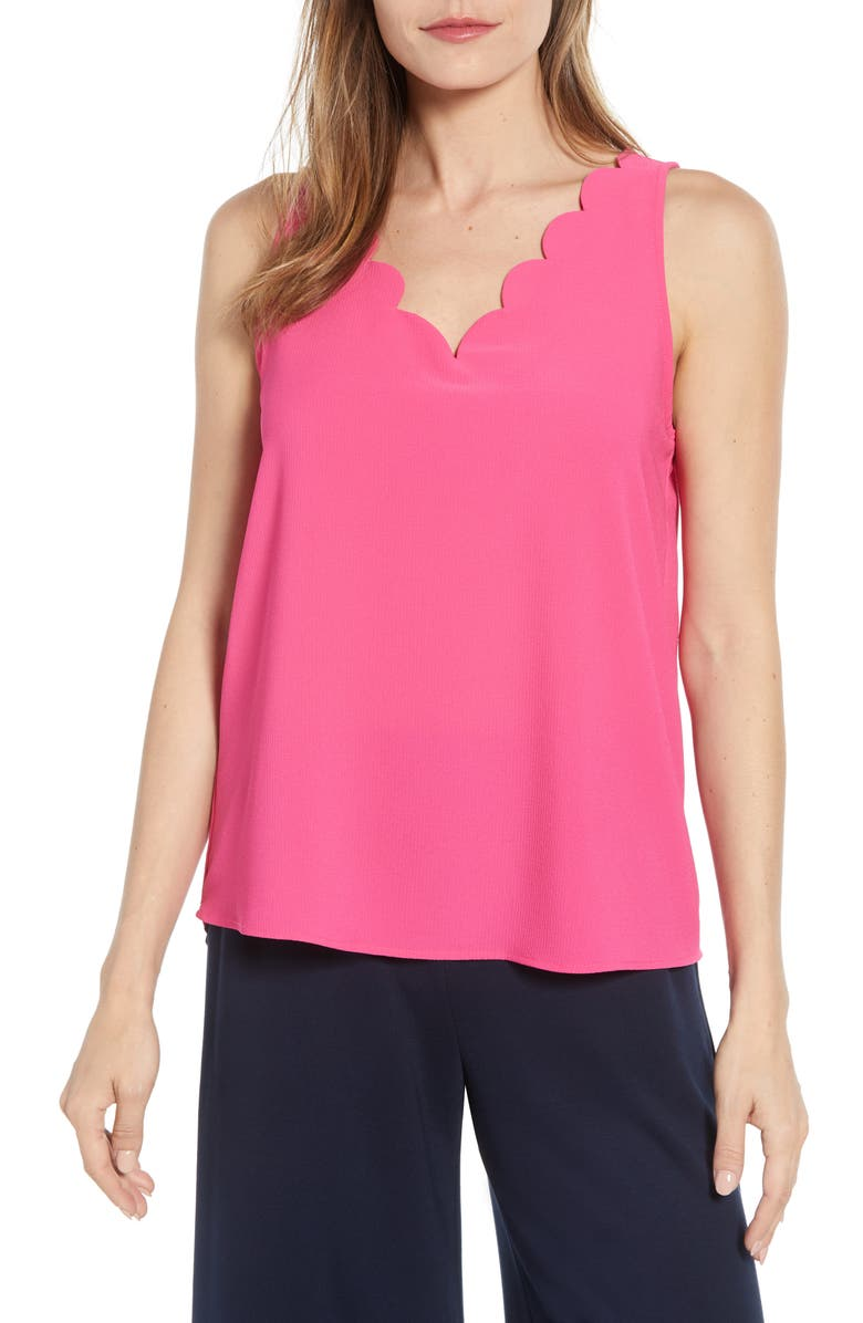 GIBSON x Living in Yellow Savannah Scalloped V-Neck Tank, Main, color, BOUGAINVILLA PINK