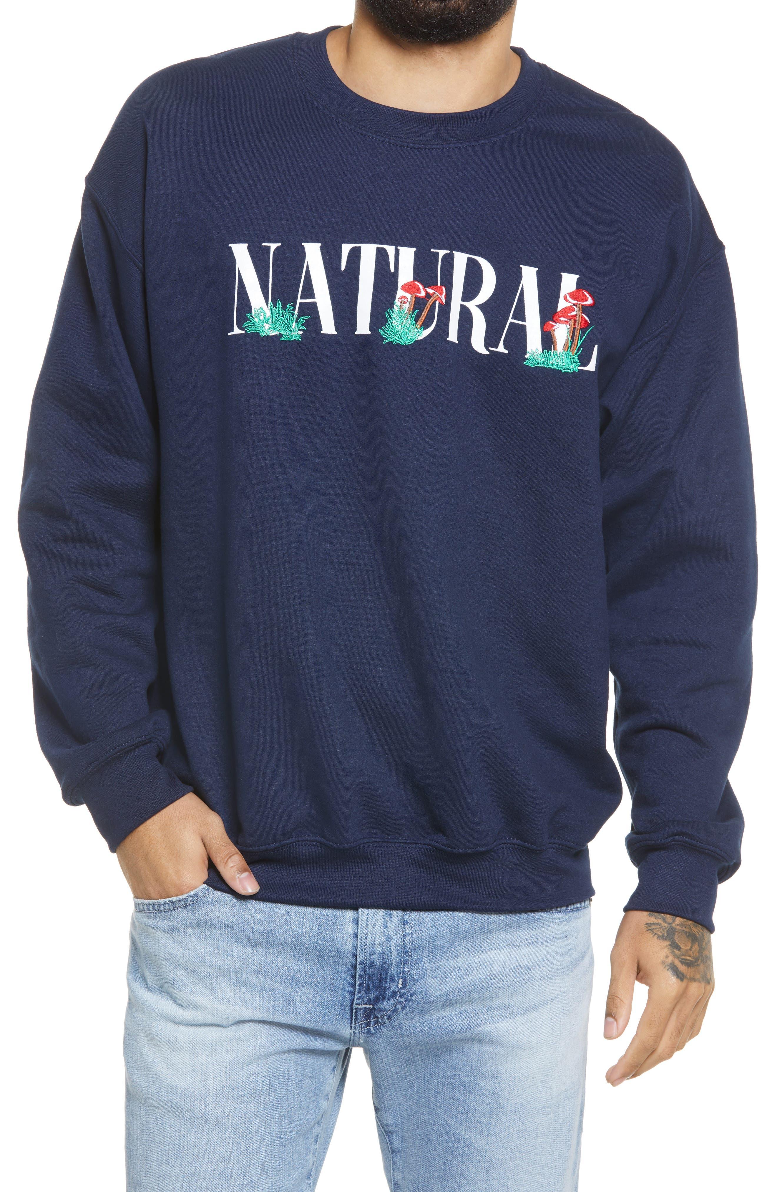 Embroidered Natural Fleece Crewneck Sweatshirt