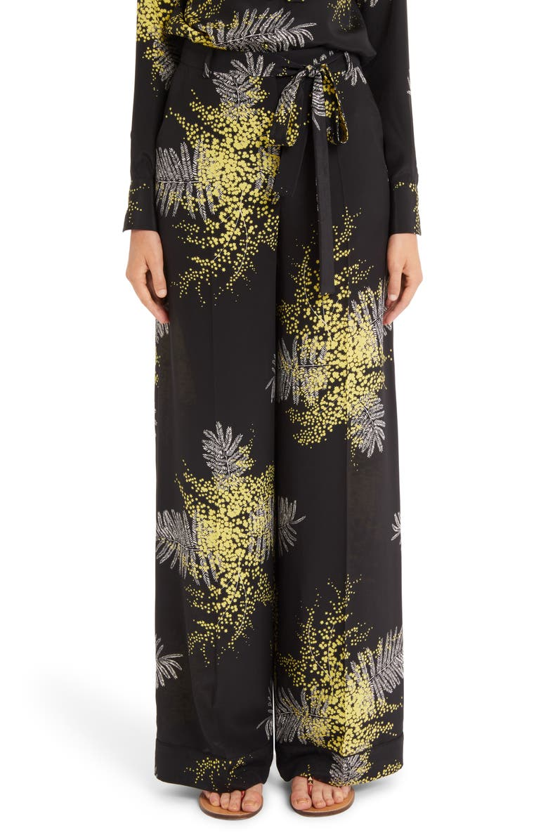 VALENTINO Mimosa Print Silk Crêpe de Chine Wide Leg Pants, Main, color, 019
