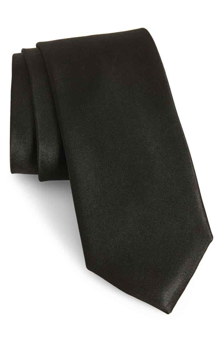 NORDSTROM MEN'S SHOP Solid Silk Tie, Main, color, BLACK