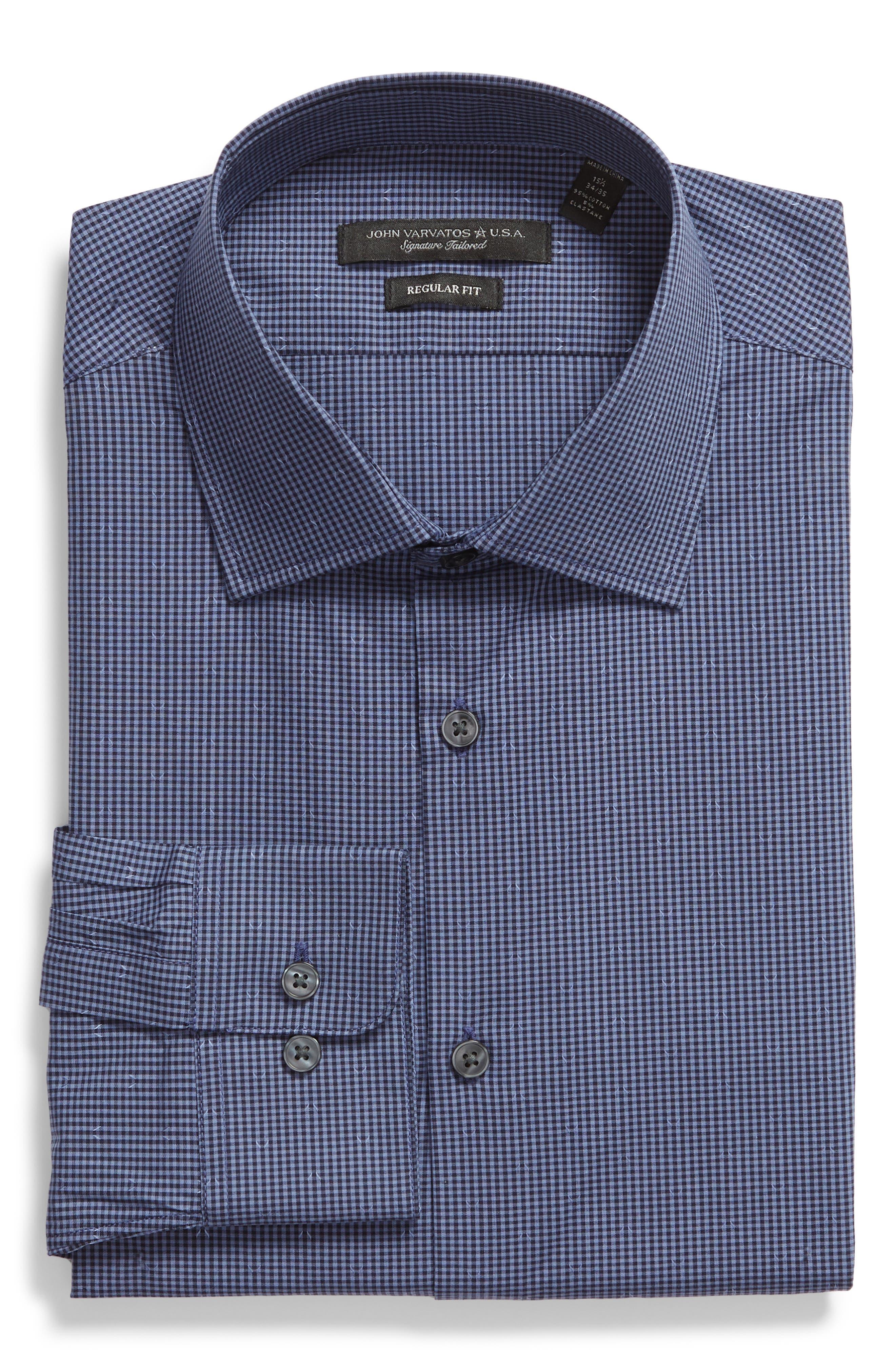 John Varvatos Star USA Stretch Regular Fit Iris Micro Check Dress Shirt Nwt