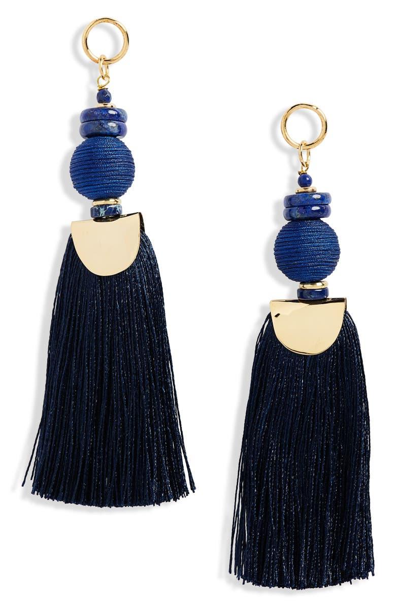 NECTAR NECTAR Lapiz Lazuli Tassel Earrings, Main, color, LAPIS/ GOLD