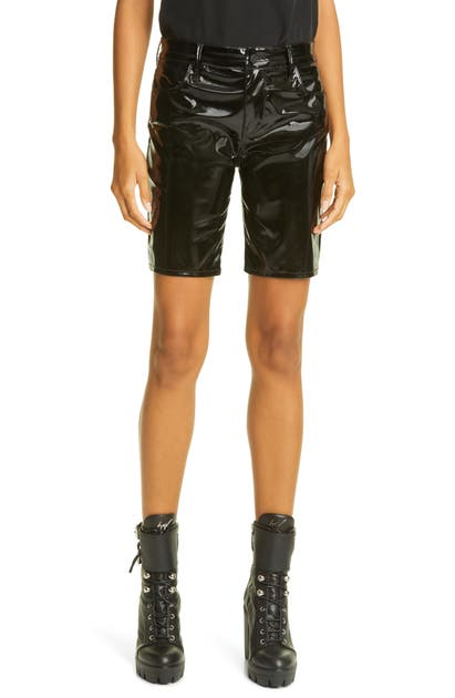 Rta DENIM TOURE FAUX LEATHER BICYCLE SHORTS