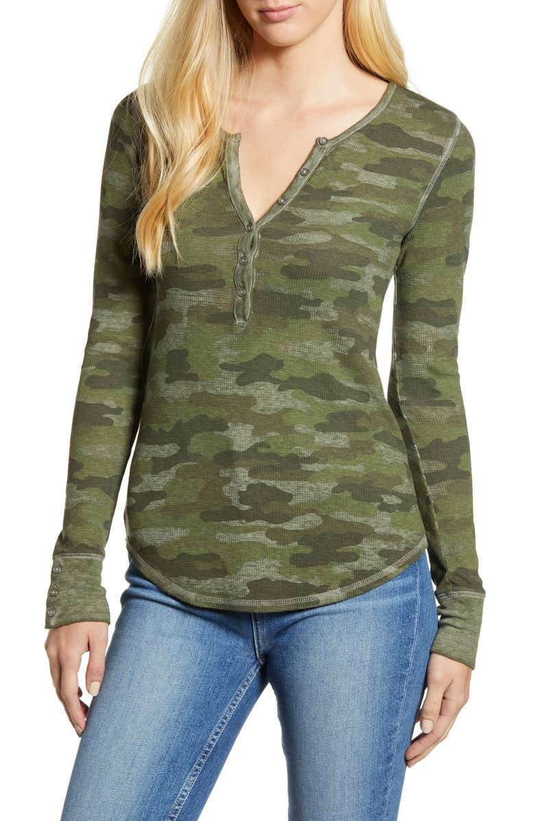 LUCKY BRAND Camo Thermal Top, Main, color, 360