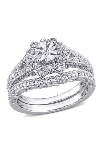 Image of Delmar Sterling Silver Pave Diamond Flower Ring - 0.2 ctw