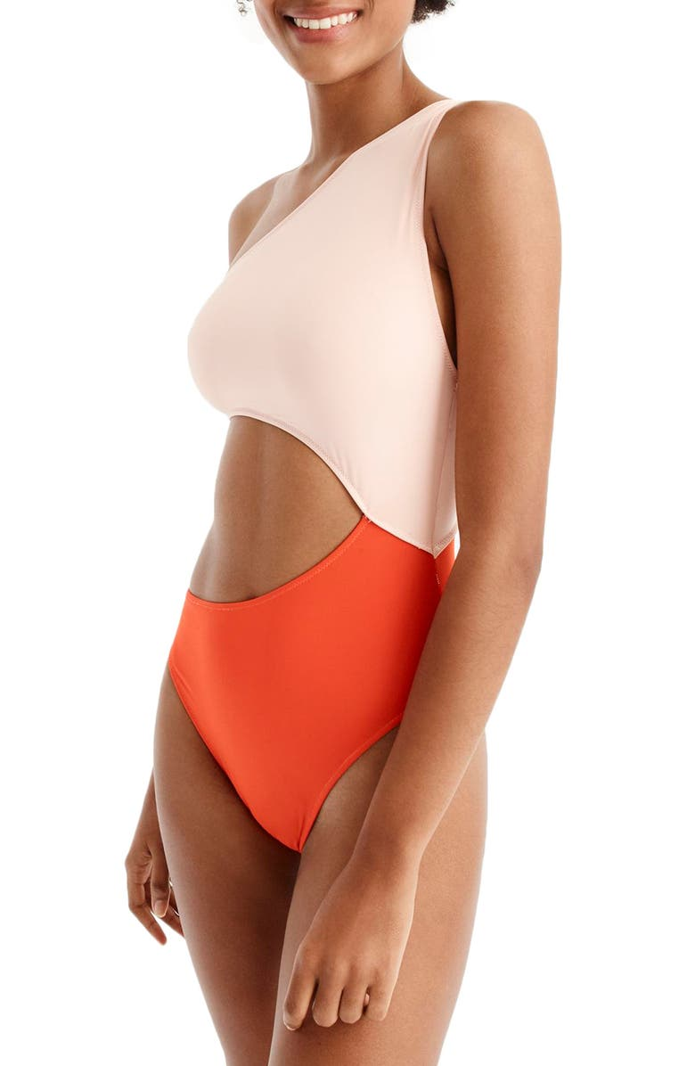 J.CREW Playa Tilden Colorblock One-Piece Swimsuit, Main, color, 801