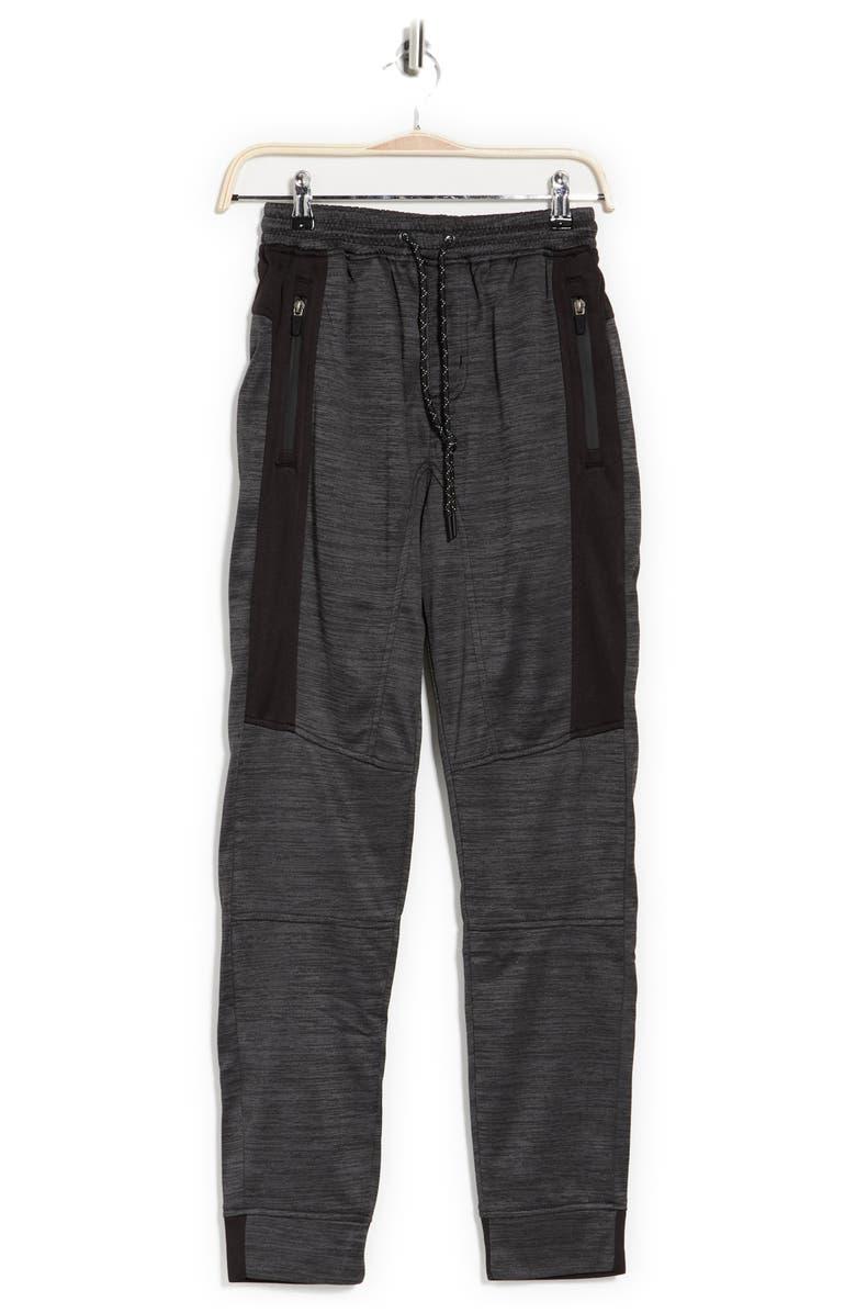 BURNSIDE Heathered Drawstring Fleece Joggers, Main, color, HEATHER BLACK