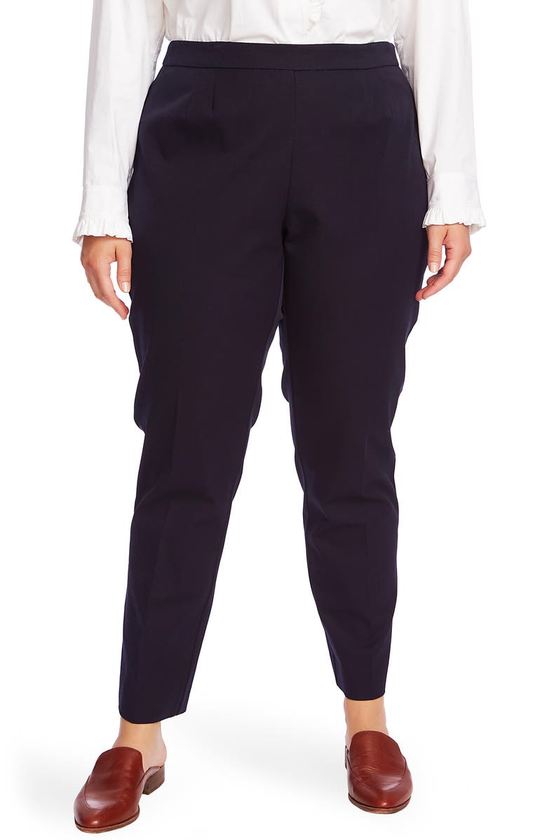 COURT & ROWE Flat Front Stretch Cotton Blend Twill Trousers, Main, color, BLUE NIGHT