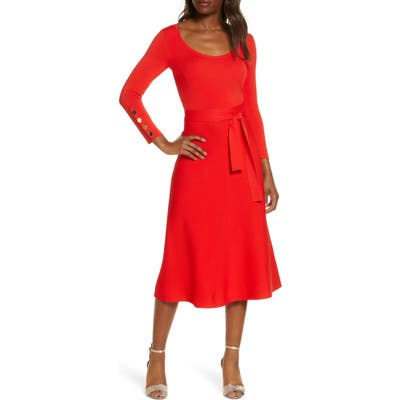 Eliza J Long Sleeve Fit & Flare Sweater Dress, Red