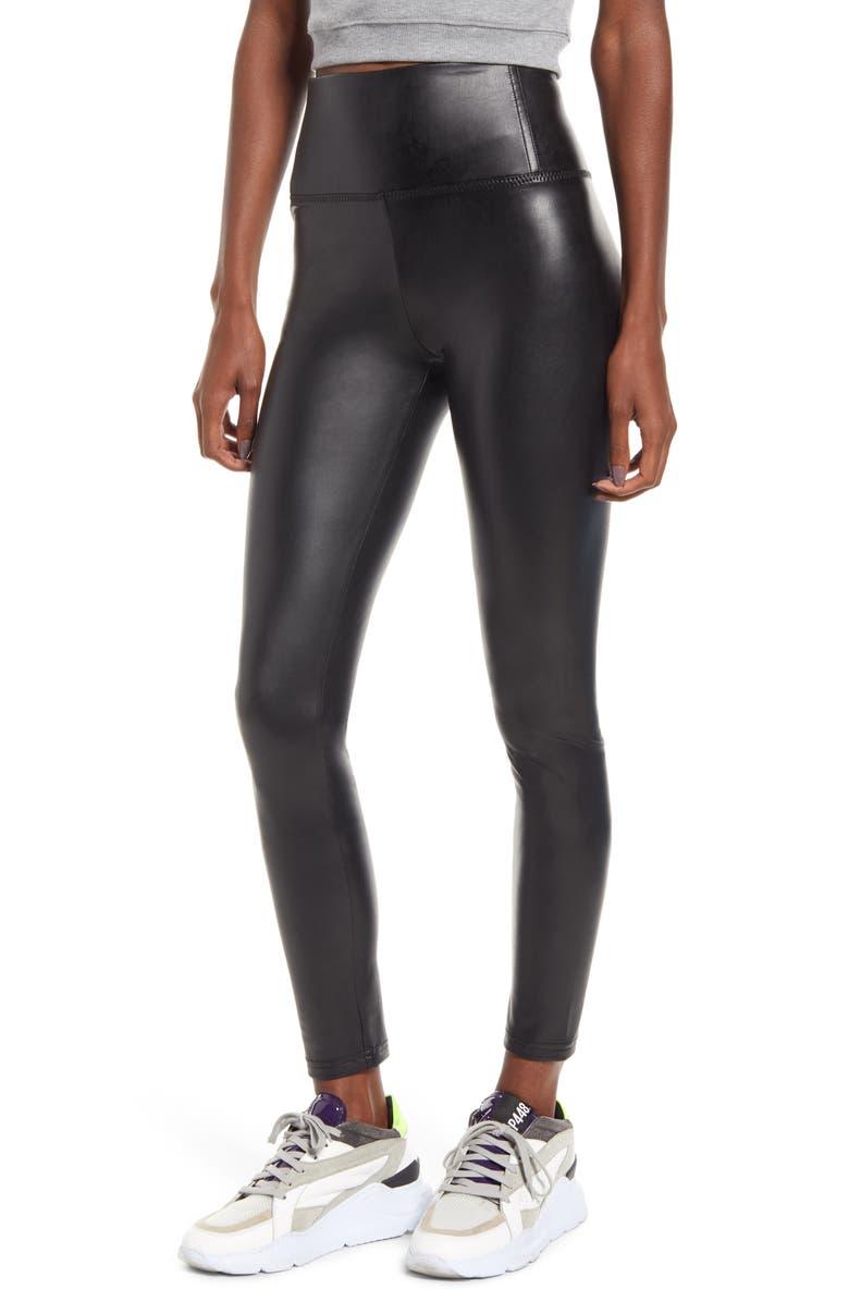 BP. Faux Leather Leggings, Main, color, BLACK