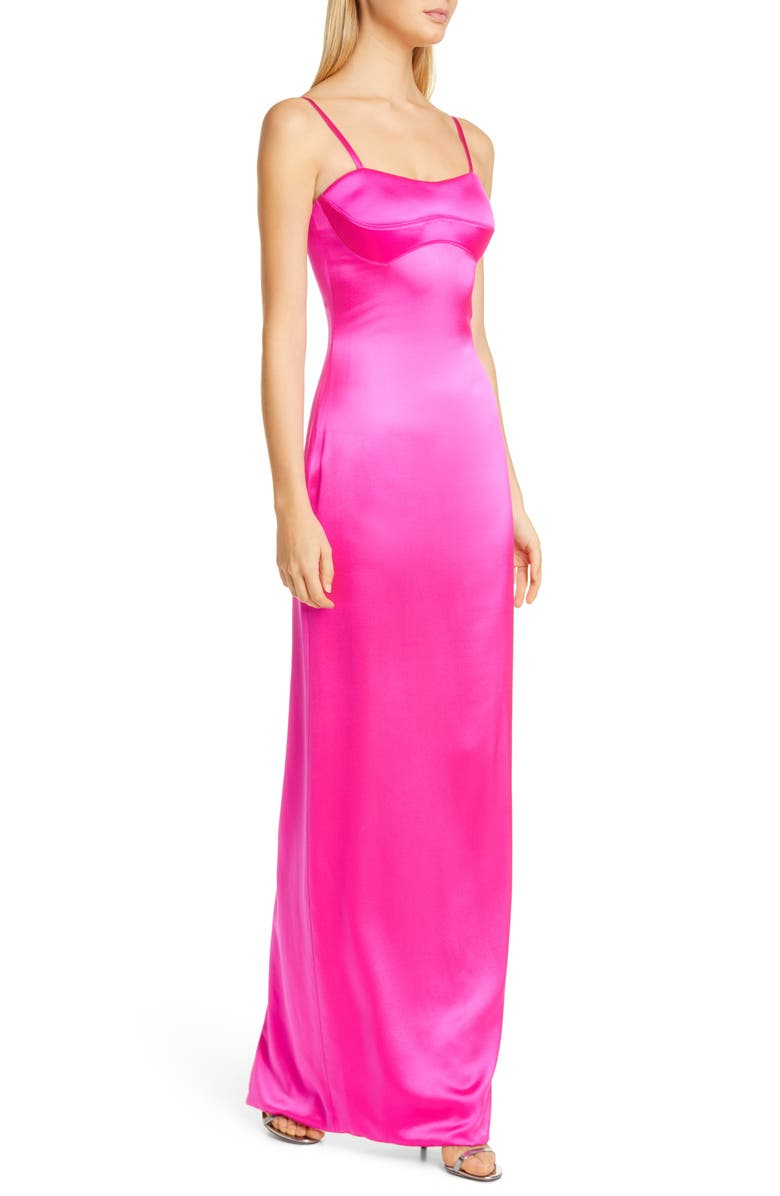 BRANDON MAXWELL Bustier Silk Satin Column Gown, Main, color, ELECTRIC PINK
