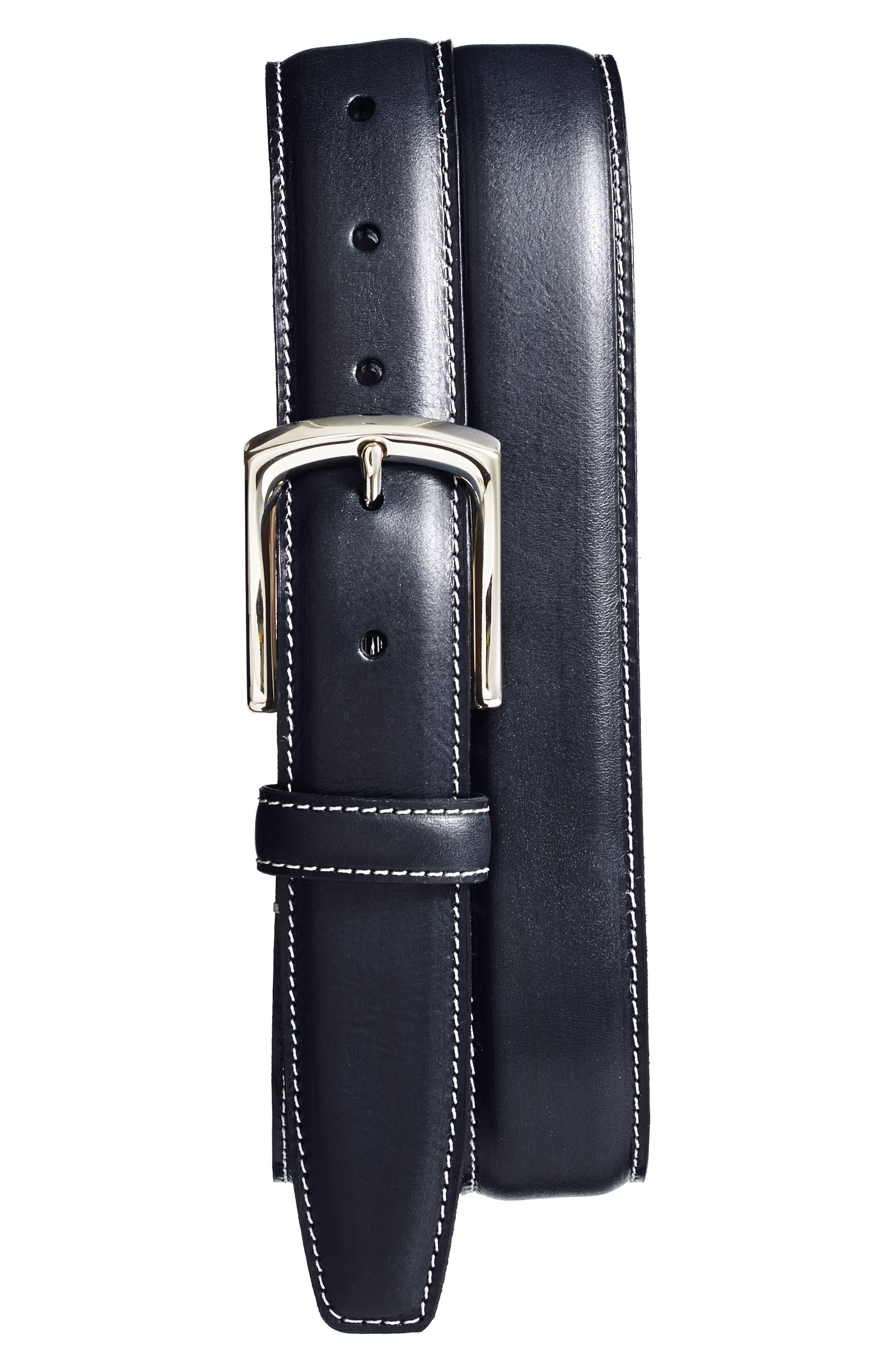 Torino Burnished Leather Belt, Navy