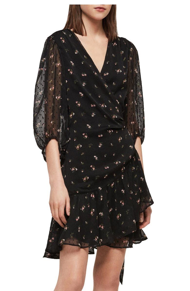 ALLSAINTS Jade Aster Wrap Dress, Main, color, 001
