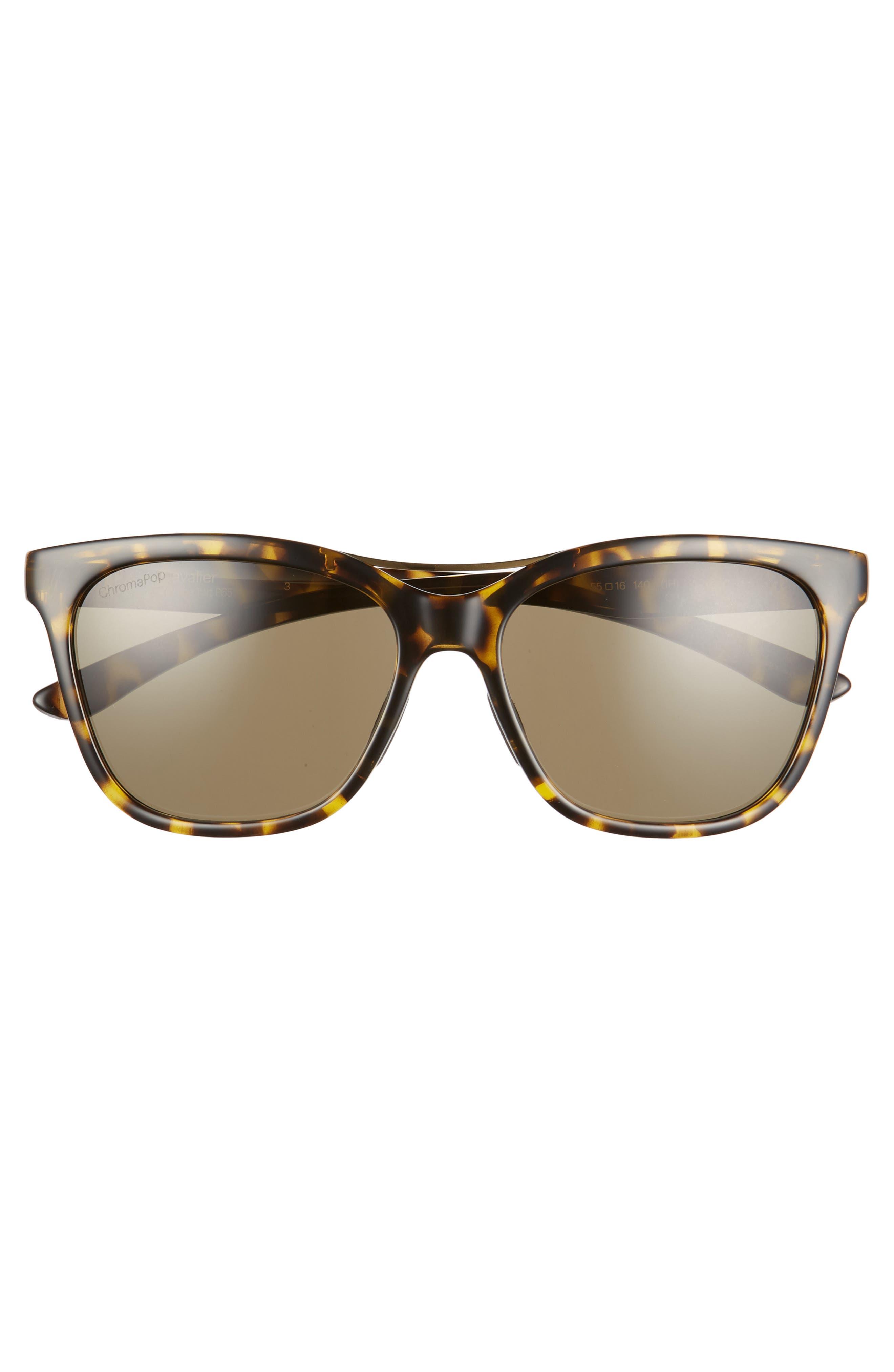 ,                             Cavalier 55mm ChromaPop<sup>™</sup> Polarized Cat Eye Sunglasses,                             Alternate thumbnail 3, color,                             VINTAGE TORTOISE/ GREEN