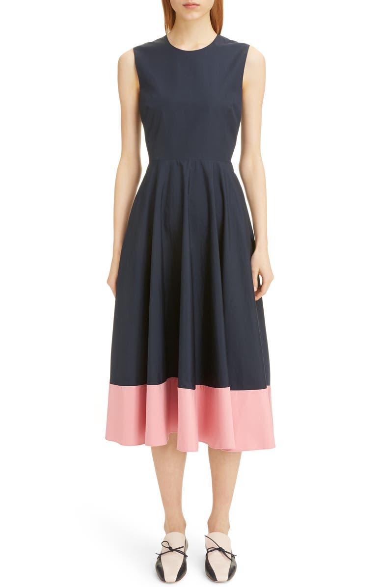 ROKSANDA Contrast Hem Poplin Midi Dress, Main, color, MIDNIGHT/ FLAMINGO