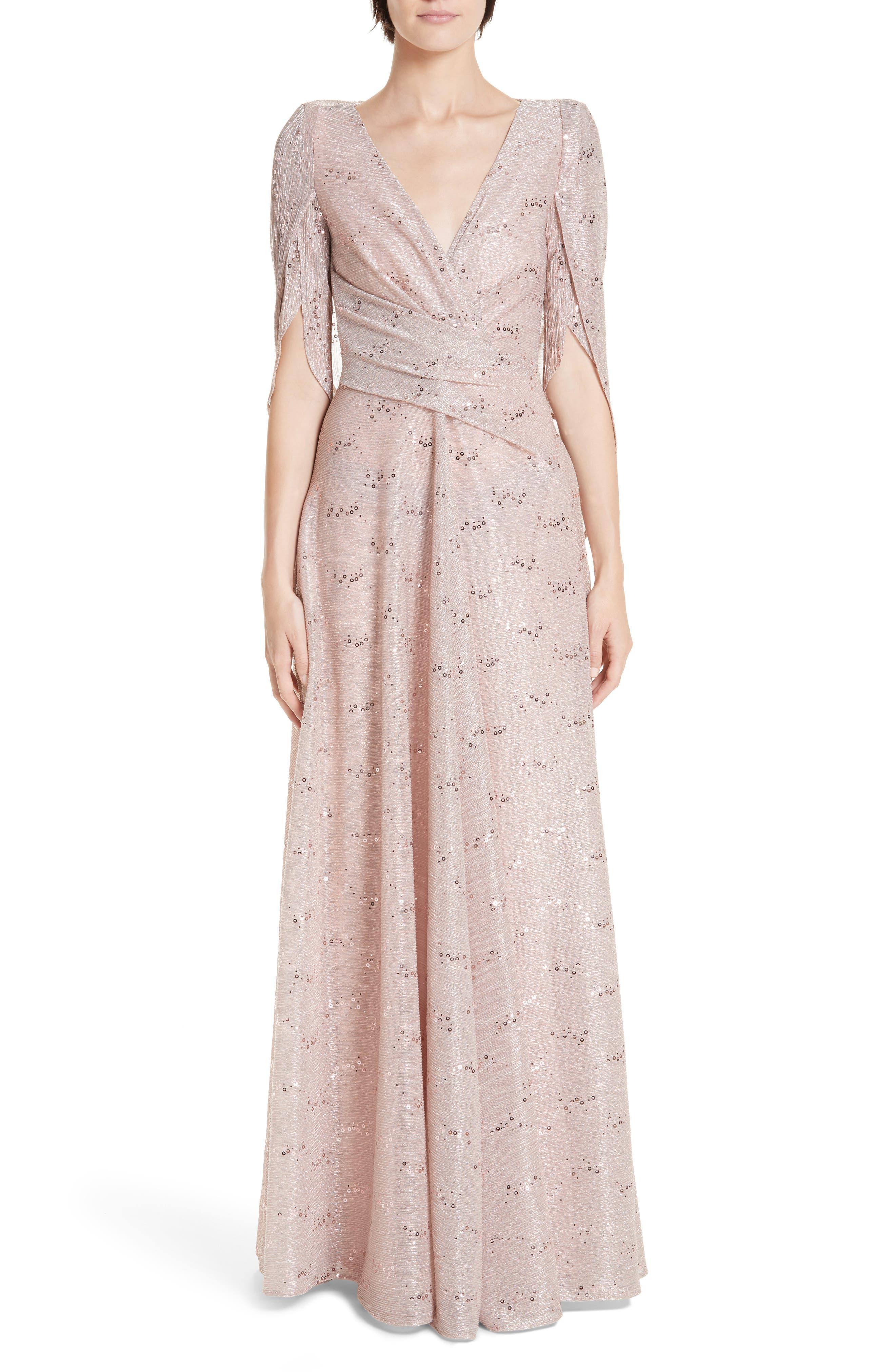 Talbot Runhof Sequin Metallic Voile Drape Back Gown, Pink