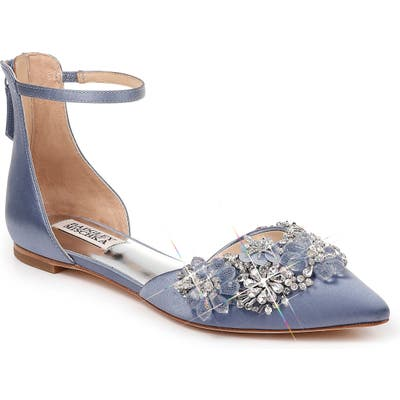 Badgley Mischka Abby Ankle Strap Flat- Blue