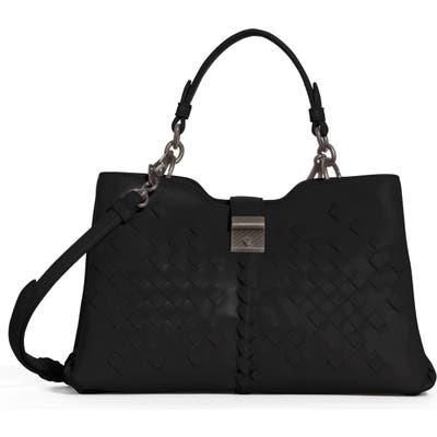 Bottega Veneta Small Napoli Top Handle Satchel - Black