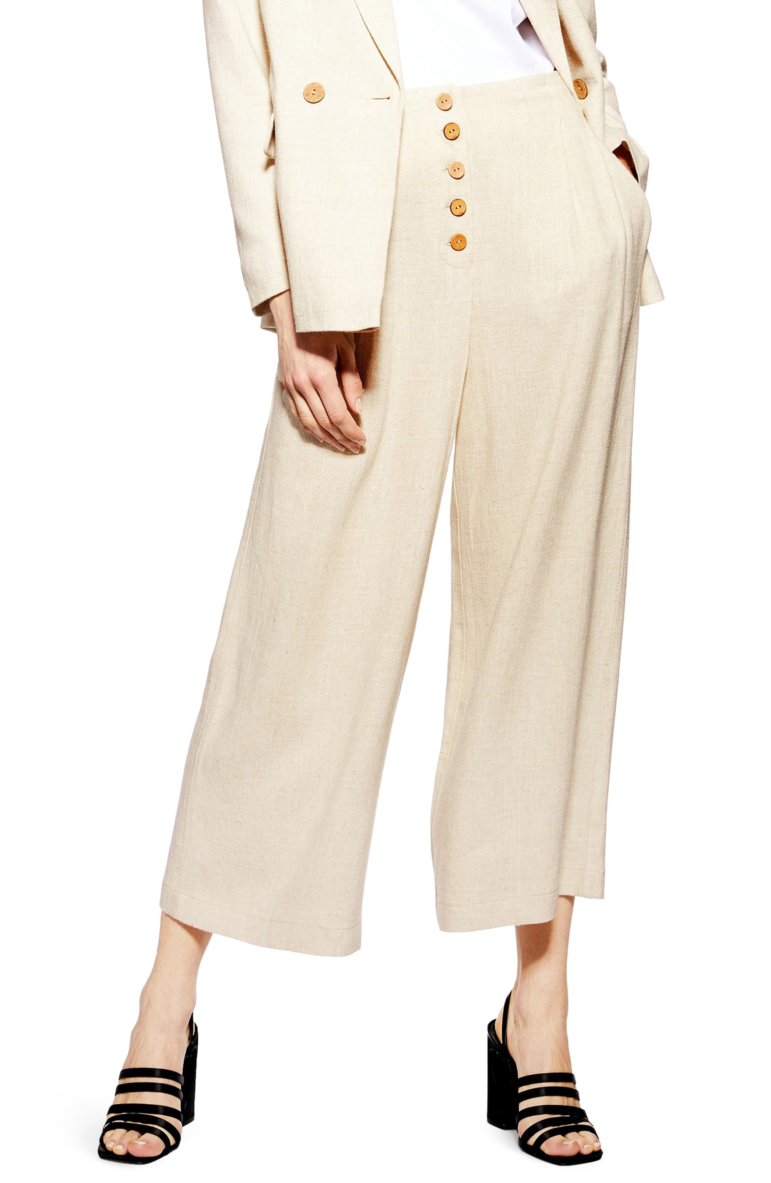 Coco Cropped Wide Leg Trousers, Main, color, OATMEAL