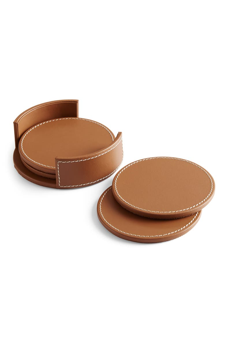 RALPH LAUREN Wyatt Set of 4 Leather Coasters, Main, color, SADDLE