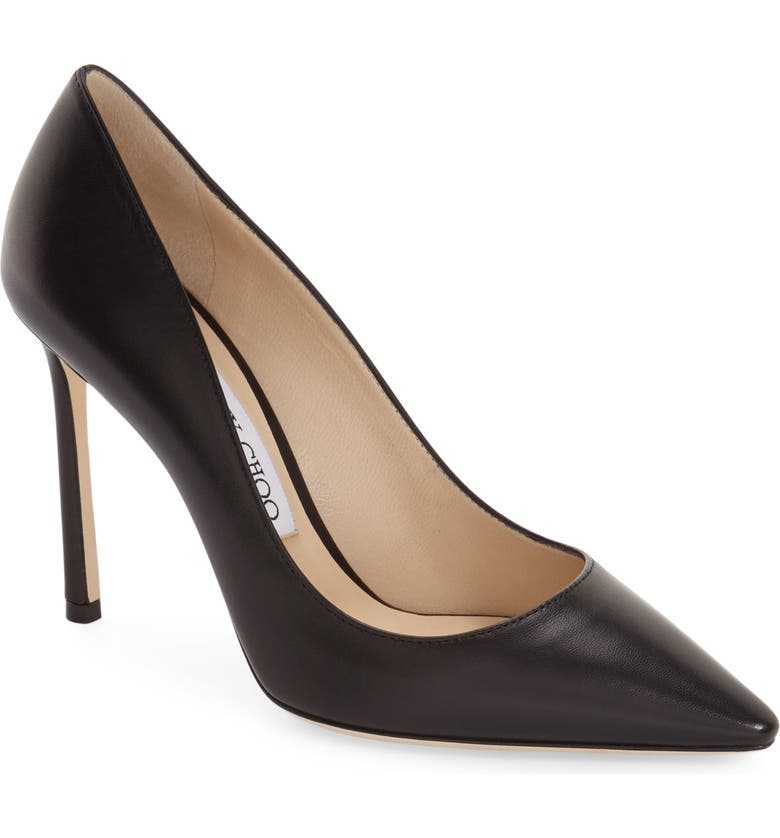 JIMMY CHOO 'Romy' Pointy Toe Pump, Main, color, BLACK LEATHER