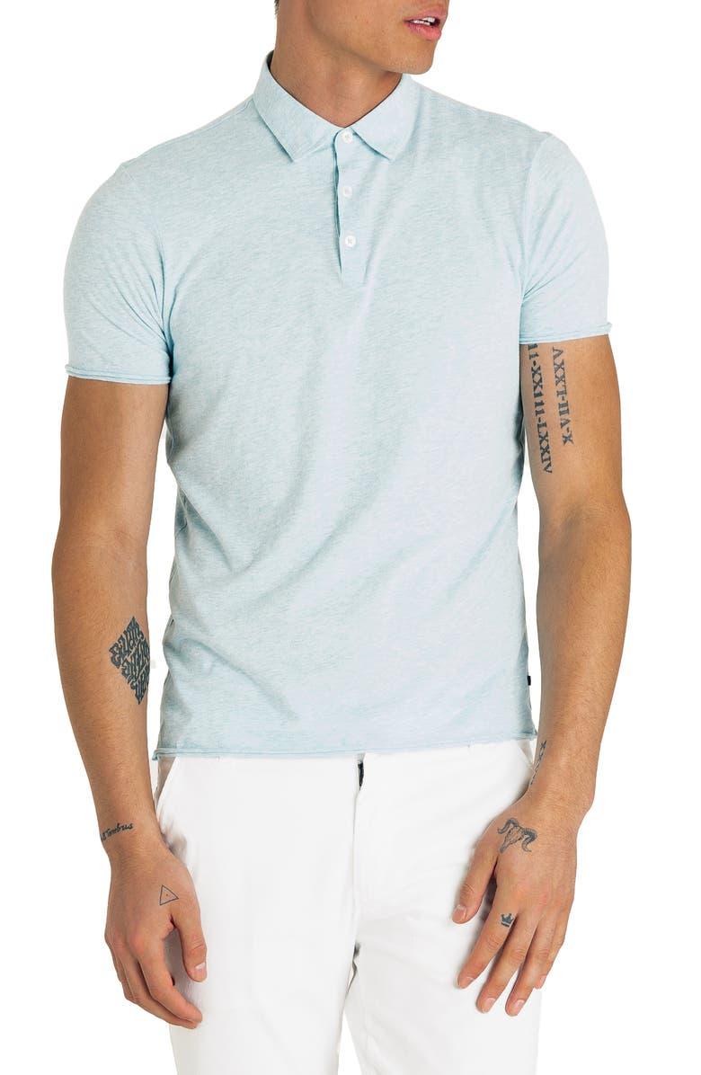 GOOD MAN BRAND Slim Fit Jersey Polo, Main, color, AQUA HEATHER