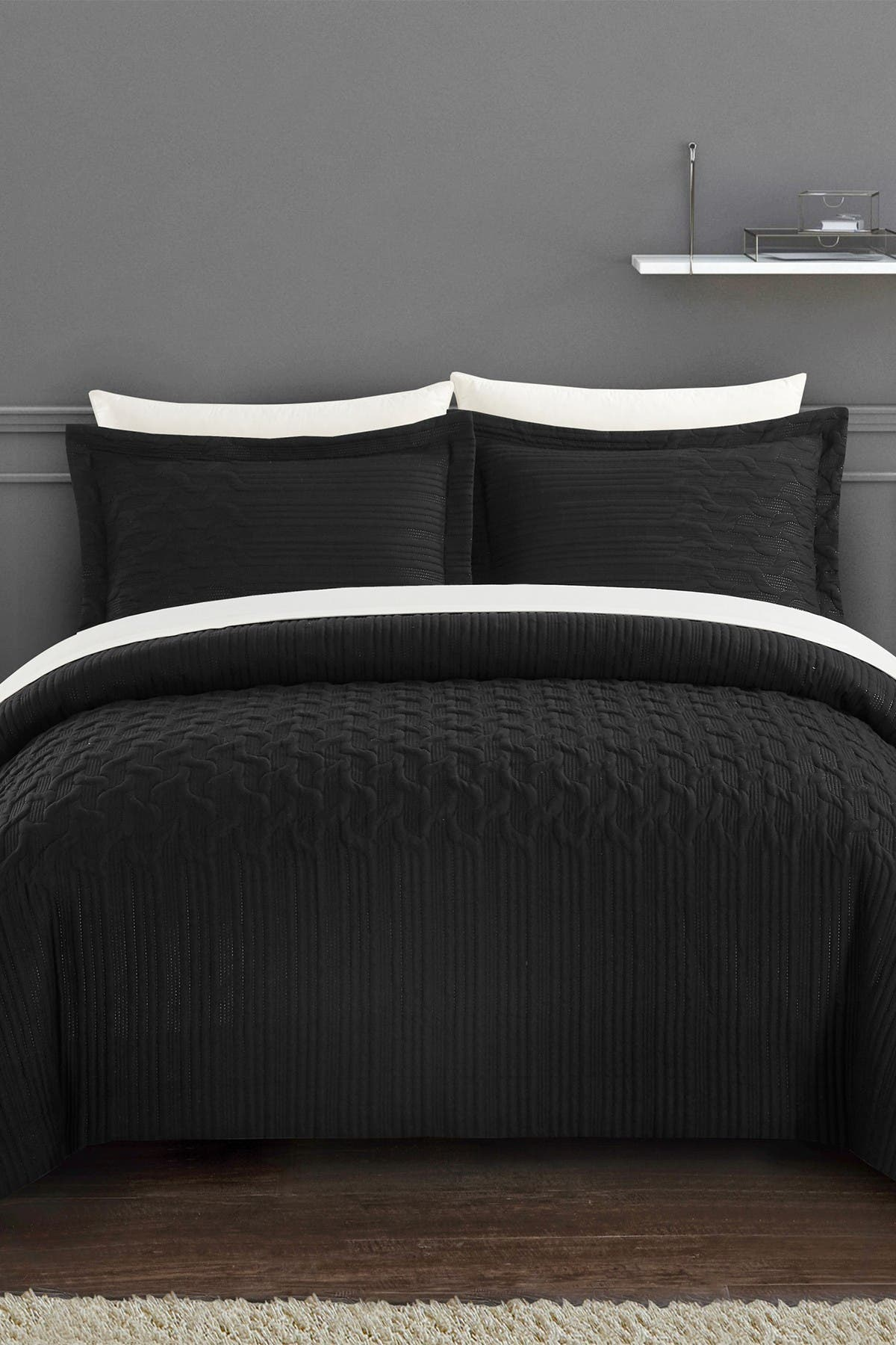 Chic Home Bedding Jazmaine Embossed Embroidered Geometric Interlaced Pattern Twin Comforter Set Black Nordstrom Rack