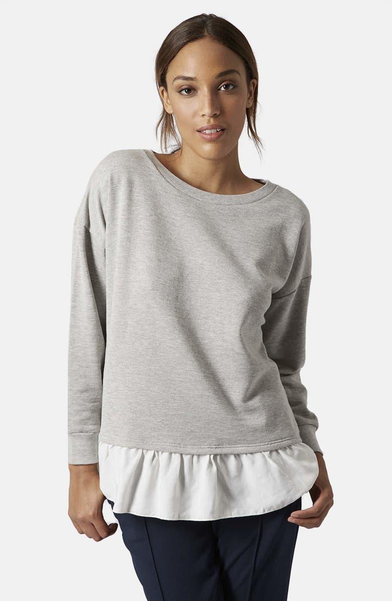TOPSHOP Pleat Hem Sweatshirt, Main, color, 050