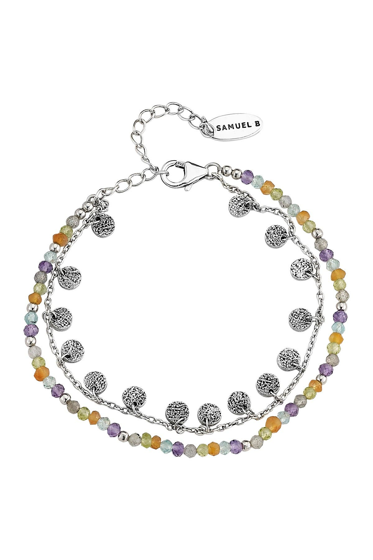 Image of Samuel B Jewelry Sterling Silver Beaded Layered Necklace