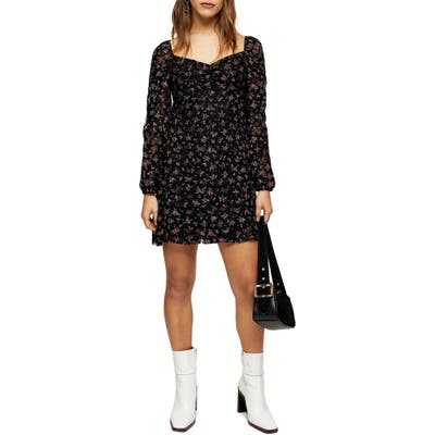 Petite Topshop Floral Lace Minidress, P US - Black