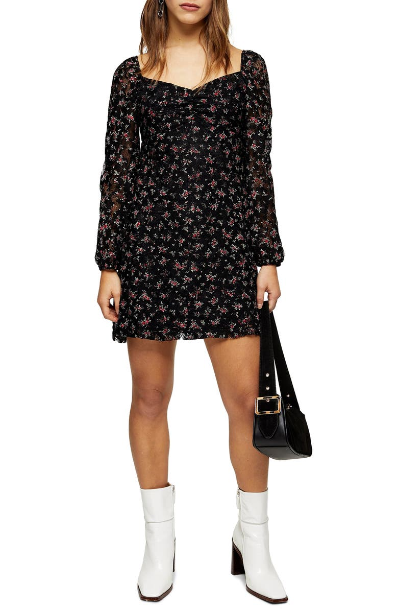 TOPSHOP Gypsy Floral Lace Minidress, Main, color, BLACK MULTI