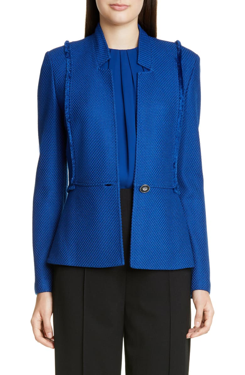 ST. JOHN COLLECTION Gridded Texture Knit Jacket, Main, color, PRUSSIAN BLUE