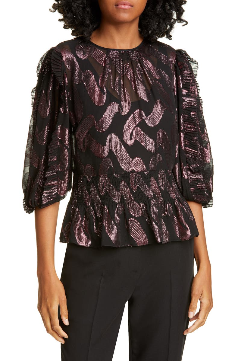 REBECCA TAYLOR Metallic Jacquard Ruffle Sleeve Silk Chiffon Top, Main, color, BLACK