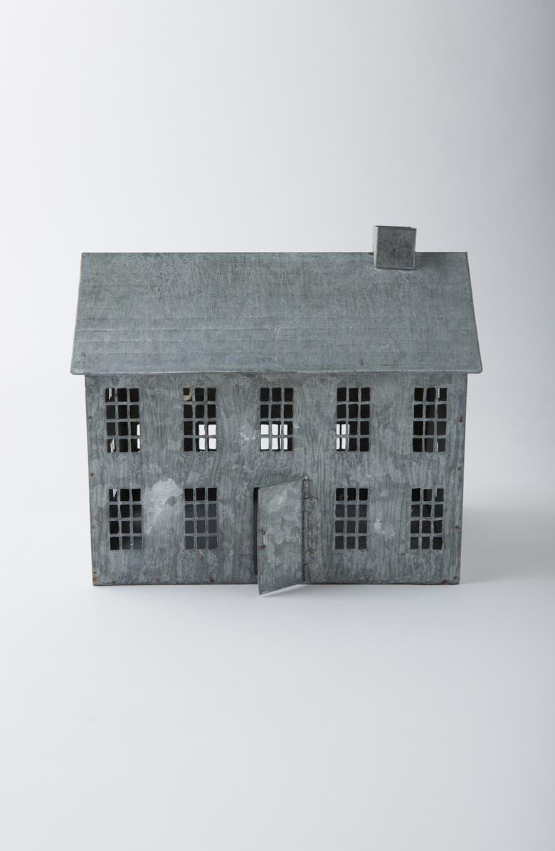 TERRAIN Metal Saltbox House Decoration, Main, color, GREY