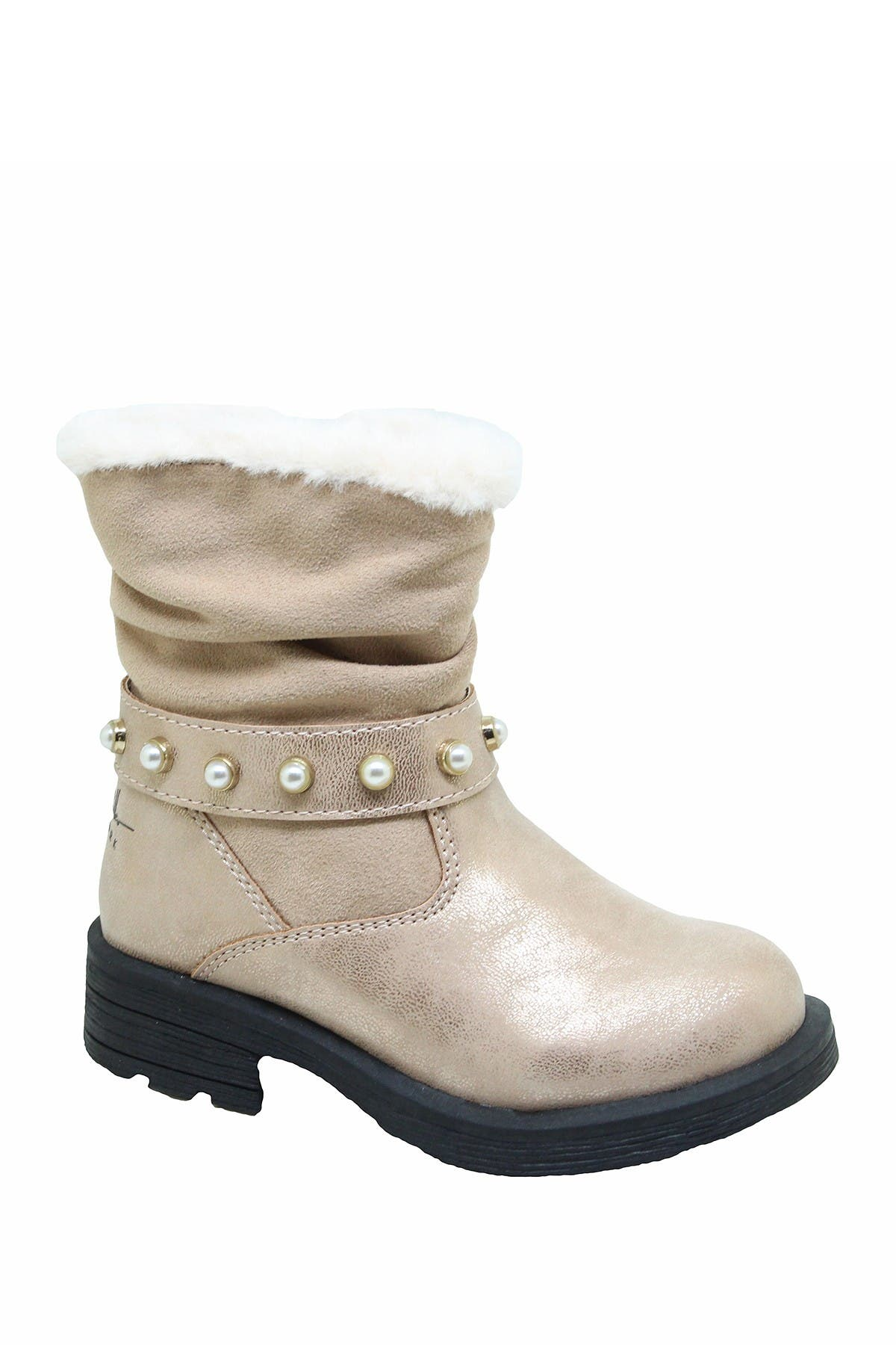 Image of Nicole Miller Studded Faux Fur Scrunch Boot