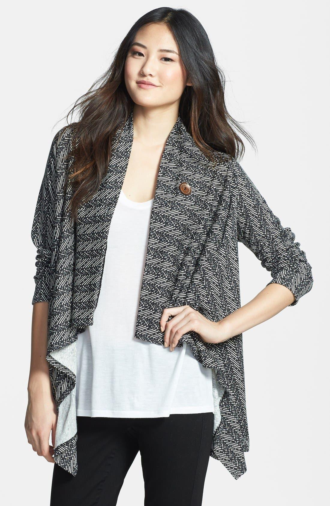 ,                             One-Button Fleece Wrap Cardigan,                             Main thumbnail 34, color,                             003